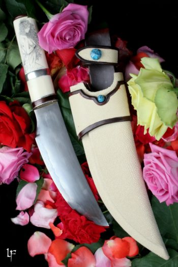 Maryline Lecourtier. Artisan du cuir | Stingray and turquoise sheath